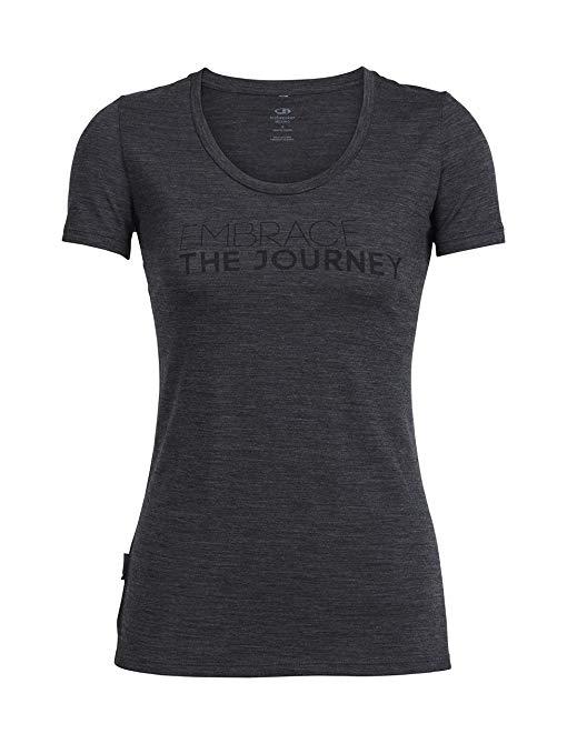 Icebreaker Merino Women's Tech Lite Short Sleeve Scoop Tee Embrace The Journey Graphic, Jet Heather, Medium
