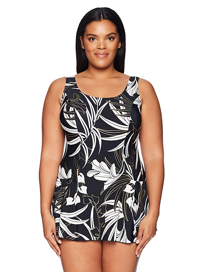 Maxine Of Hollywood Women's Plus Size Seam Front Swim Dress One Piece Swimsuit