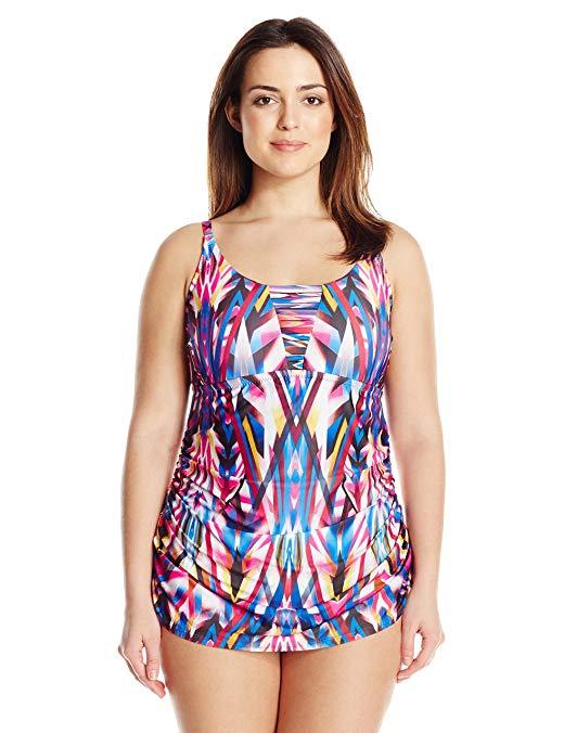 BECCA ETC Women's Plus-Size Aura Shirred-Side Strappy One Piece Swimsuit,